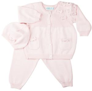 3 pc Pink Bow Cardigan with Leggings
