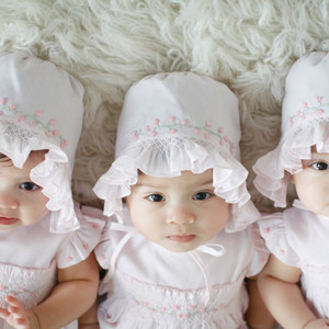 Girls Rose Garden Collection Smocked Bonnet