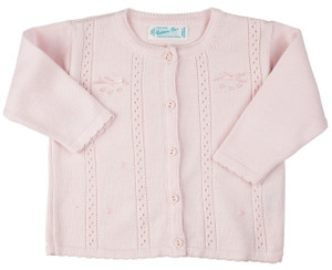 Pointelle Bow Knit Cardigan