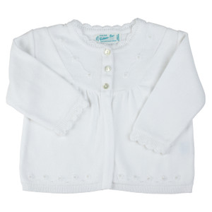 Pearl Flower Embroidered Knit Cardigan