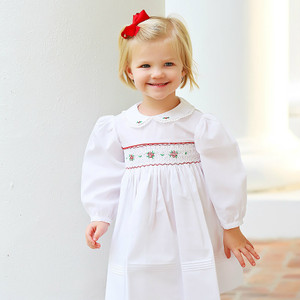 Long Sleeve Smocked Holiday Dress