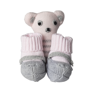 Gift Box Girls Knit Booties With Rattle