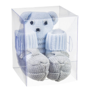 Gift Box Set - Knit Booties With Rattle