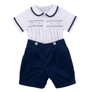 2-Piece Navy Smocked Bobby Suit