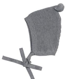 Pompom Ribbed Knit Bonnet