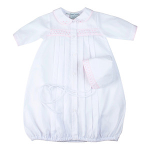Girls Dot Embroidered Take Me Home Gown with Hat