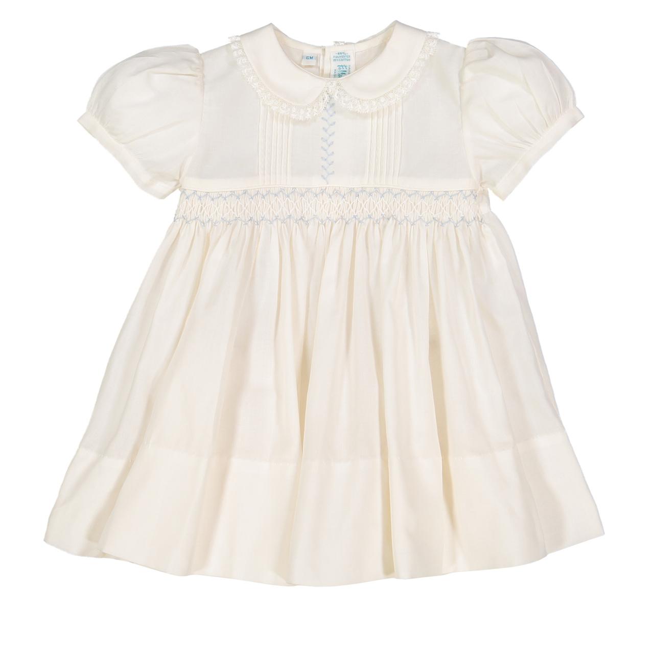 9m,12m,18m,24m,2T,3T,4T White Smocked Dress