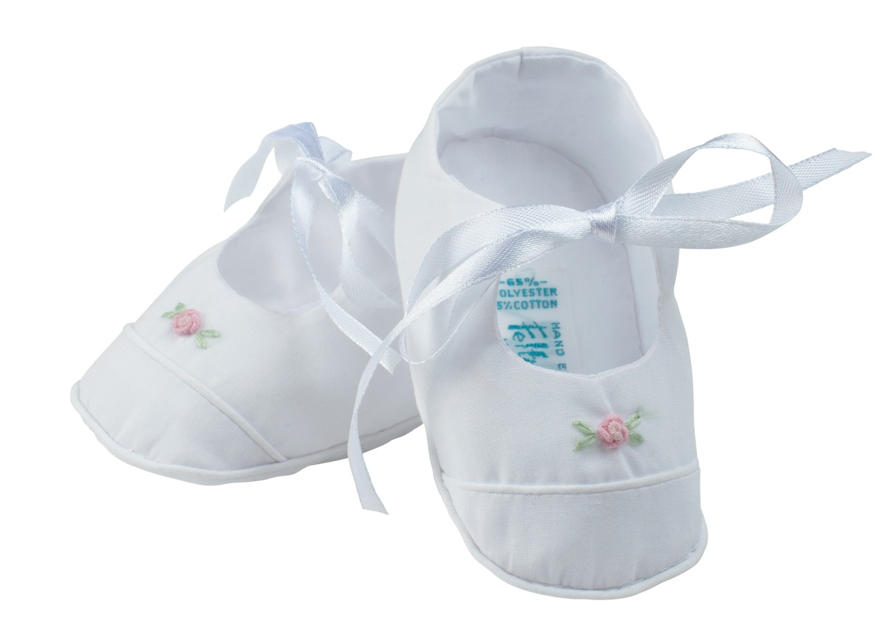 Baby Girl White Booties with Pink Satin Rose Bow 5 Preemie and Newborn Sizes