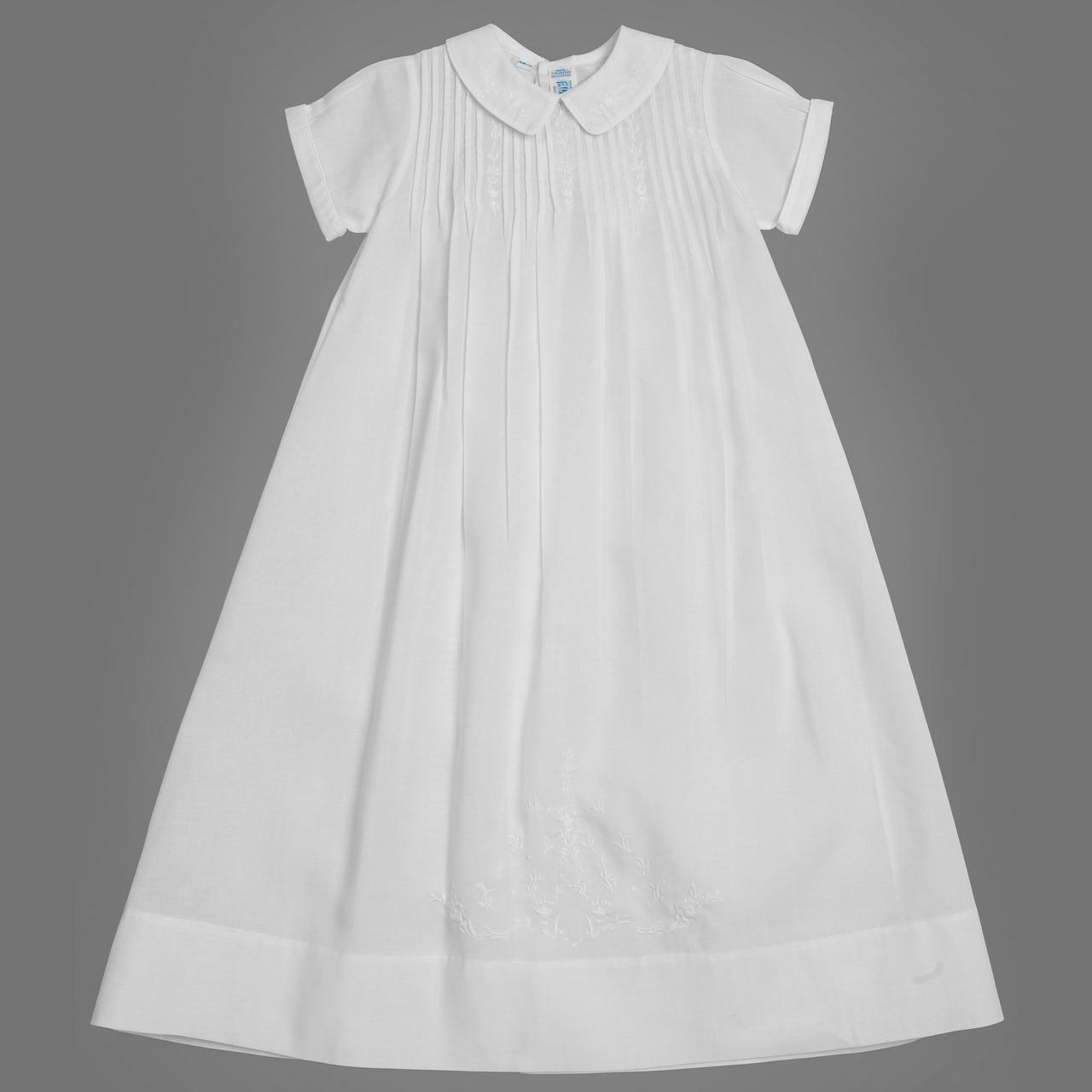Feltman Brothers Baby Girls Solid White Embroidered Slip Dress with Collar