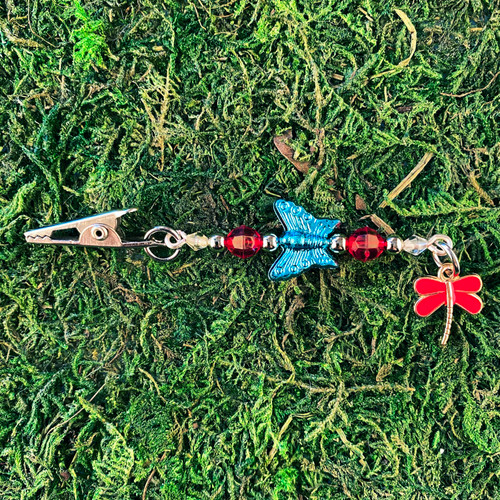 HOTI Red Dragonfly Blue Bead Butterfly Dangling Roach Clip
