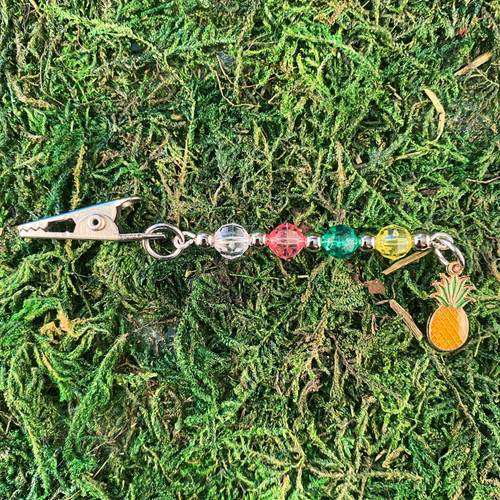 HOTI Pineapple Yellow Green Pink Clear Beaded Roach Clip It