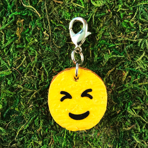 HOTI Squint Emoji Cork Paper Painted Happy Face Charm