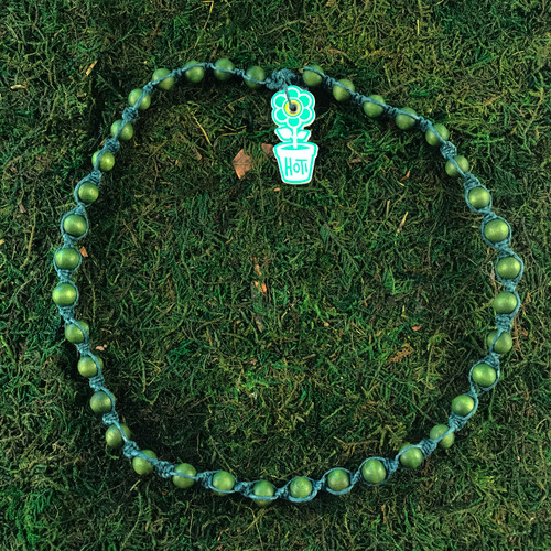 HOTI Hemp Handmade Green Wood Bead Green Hemp Beaded Mens Men's Unisex Twisted Spiral Knotted Necklace Single Strand Beads Hand Crafted Made in Toronto Made in Ontario Made in Canada Toronto Ontario Canada Canadian Made