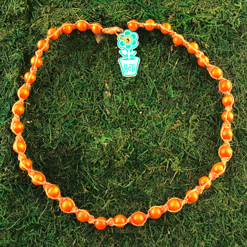 HOTI Hemp Handmade Orange Wood Bead Orange Hemp Beaded Mens Men's Unisex Twisted Spiral Knotted Necklace Single Strand Beads Hand Crafted Made in Toronto Made in Ontario Made in Canada Toronto Ontario Canada Canadian Made