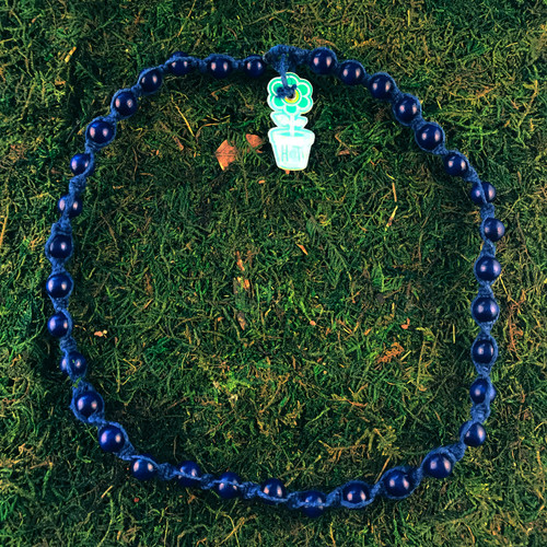 HOTI Hemp Handmade Navy Blue Wood Bead Blue Hemp Beaded Mens Men's Unisex Twisted Spiral Knotted Necklace Single Strand Beads Hand Crafted Made in Toronto Made in Ontario Made in Canada Toronto Ontario Canada Canadian Made