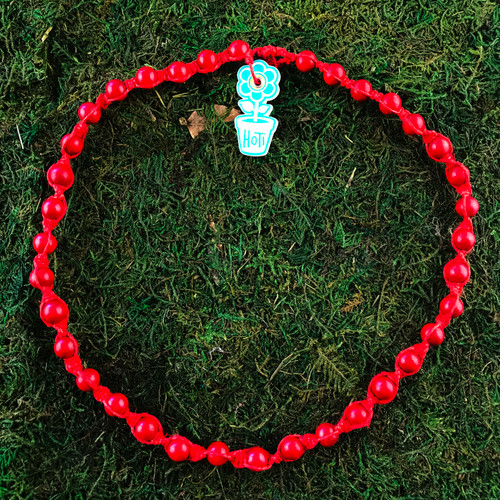 HOTI Hemp Handmade Red Hot Wood Bead Red Hemp Beaded Mens Men's Unisex Twisted Spiral Knotted Necklace Single Strand Beads Hand Crafted Made in Toronto Made in Ontario Made in Canada Toronto Ontario Canada Canadian Made