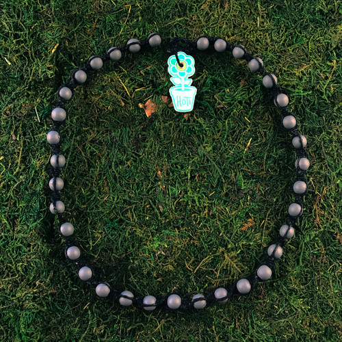 HOTI Hemp Handmade Black Gray Grey Wood Bead Black Hemp Beaded Mens Men's Unisex Twisted Spiral Knotted Necklace Single Strand Beads Hand Crafted Made in Toronto Made in Ontario Made in Canada Toronto Ontario Canada Canadian Made