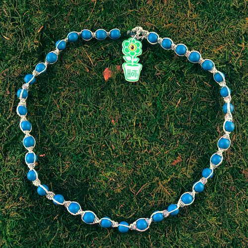 HOTI Hemp Handmade Light Bright Blue Wood Bead Light Blue Hemp Beaded Mens Men's Unisex Twisted Spiral Knotted Necklace Single Strand Beads Hand Crafted Made in Toronto Made in Ontario Made in Canada Toronto Ontario Canada Canadian Made