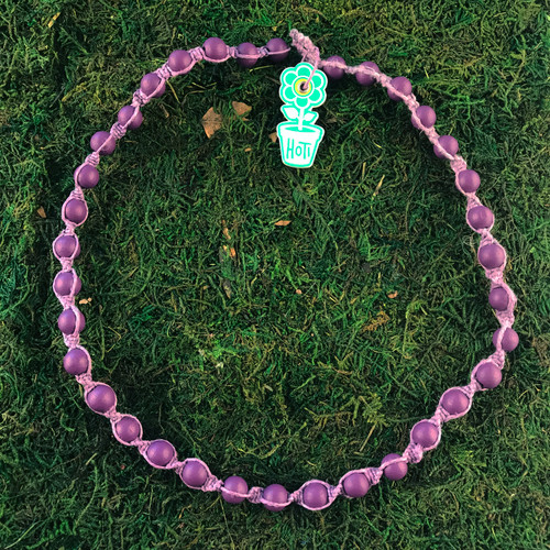 HOTI Hemp Handmade Purple Wood Bead Purple Hemp Beaded Mens Men's Unisex Twisted Spiral Knotted Necklace Single Strand Beads Hand Crafted Made in Toronto Made in Ontario Made in Canada Toronto Ontario Canada Canadian Made