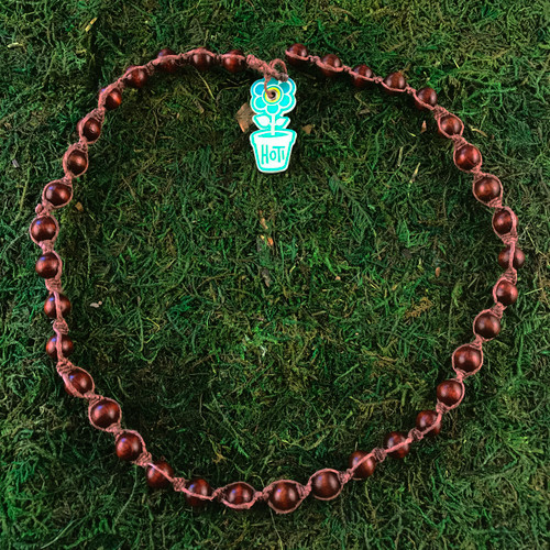 HOTI Hemp Handmade Brown Wood Bead Brown Hemp Beaded Mens Men's Unisex Twisted Spiral Knotted Necklace Single Strand Beads Hand Crafted Made in Toronto Made in Ontario Made in Canada Toronto Ontario Canada Canadian Made