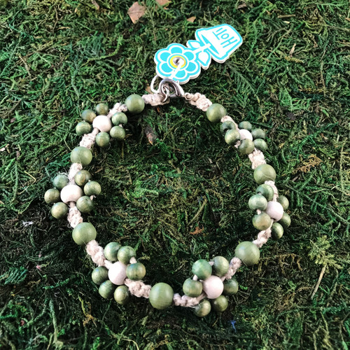 HOTI Hemp Handmade Beige Natural Hemp Daisy Chain Signature Flower Power Anklet White Green Wood Round Beads Beaded Flowers Floral Ladies Women's Jewellery Woman Girls Ankle Bracelet Hand Crafted Made in Canada Made in Toronto Made in Ontario Boho Chic Clasp-It Lobster Claw Clasp Toronto Ontario Canada Canadian Jewelry