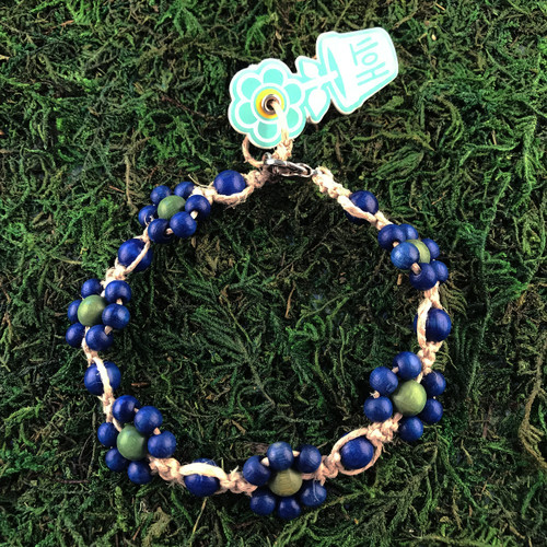 HOTI Hemp Handmade Beige Natural Hemp Daisy Chain Signature Flower Power Anklet Blue Green Round Beads Beaded Flowers Floral Ladies Women's Jewellery Woman Girls Ankle Bracelet Hand Crafted Made in Canada Made in Toronto Made in Ontario Boho Chic Clasp-It Lobster Claw Clasp Toronto Ontario Canada Canadian Jewelry