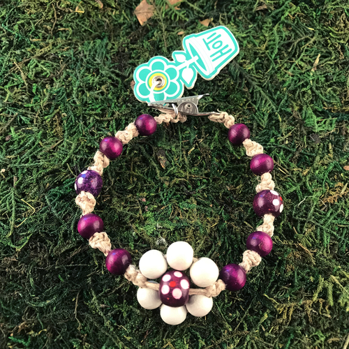 HOTI Hemp Handmade Flower Power Beige Natural Hemp Purple White Floral Imperfectly Painted Wood Round Beads Women's Ladies Woman Beaded Jewellery Roach Clip Bracelet Hand Crafted Original Signature Spiral Twisted Knots Knotted Made in Toronto Made in Ontario Made in Canada Wood Beads Round Beads 420 Cannabis Accessory Marijuana Mary Jane Weed Accessories Dope Stoner Gift Pot Mini Metal Alligator Clip Clip It Clip Toronto Ontario Canada Canadian Jewelry