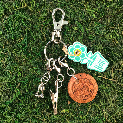 HOTI Handmade Cheers Cups Perrier Jouet Champagne Bubbly Celebration Keyfinder Keychain Roach Clip Charms Key Chain Repurposed Cork Upcycled Reused Used Antique Silver Pewter Metal Charm Ladies Women's Men's Unisex Charming Collection Made in Canada Hand Crafted Made in Toronto Made in Ontario Lobster Claw Clasps Swivel Clip 420 Cannabis Accessory Marijuana Weed Pot Accessories Clip-It Alligator Clip Dope Stoner Gift Toronto Ontario Canada Canadian