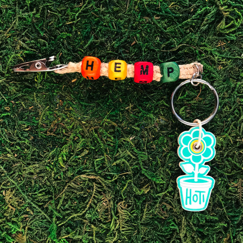 HOTI Hemp Handmade Beige Natural Hemp Keychain Roach Clip Key Chain Orange Yellow Red Green Wood Cube Square Alphabet Beads Word Up Made in Canada Hand Crafted Made in Toronto Made in Ontario Beaded Weed Pot Accessories Cannabis Marijuana Mary Jane Accessory Dope Stoner Gift 420 Clip-It Alligator Clip Canadian Toronto Ontario Canada Handcrafted