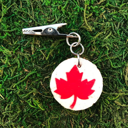 HOTI Red Maple Leaf White Painted Cork Roach Clip Canada