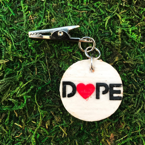 HOTI Dope White Cork Painted Heart Paper Word Roach Clip