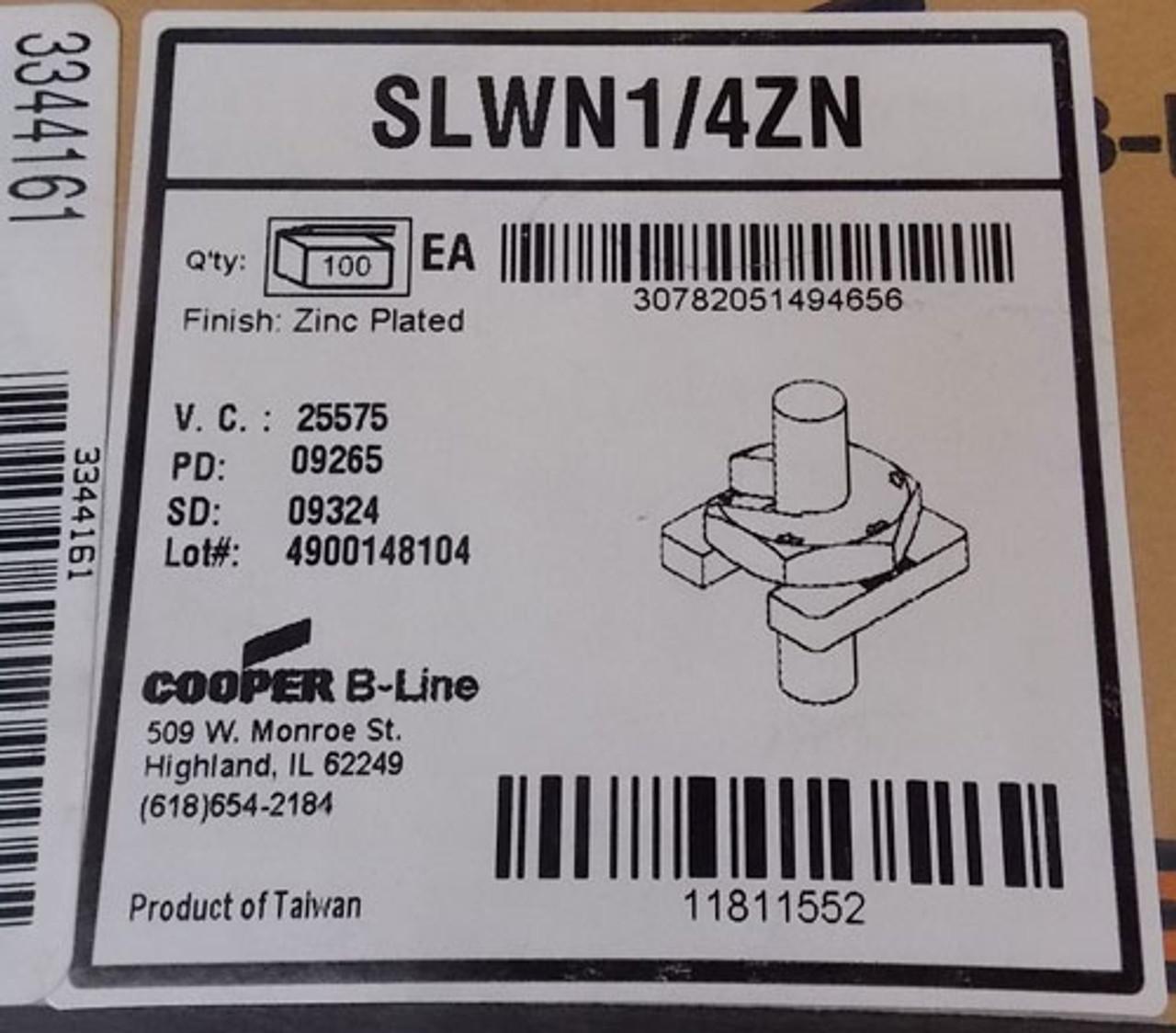 "100Pc Cooper B-Line SLWN1/4ZN Buzz-Nut, 1/4""-20 Thread, Zinc Plated New"