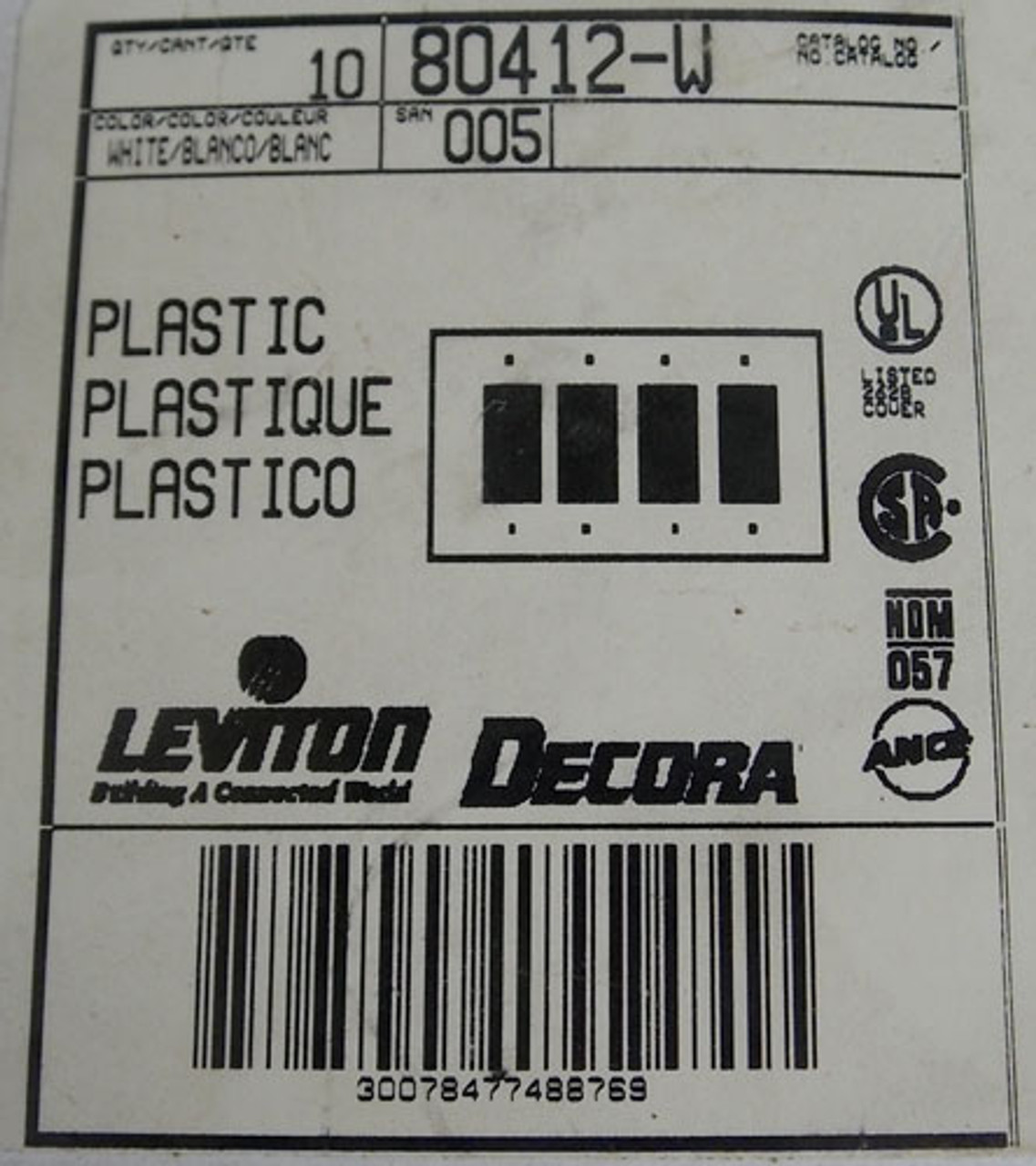10Pc Leviton Decora 80412-W 4 Gang GFCI Device Wallplate White New