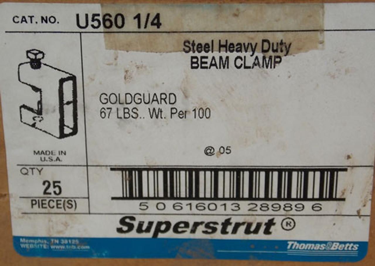 25Pc Thomas & Betts Superstrut U560 1/4 Steel Heavy Duty Beam Clamp New