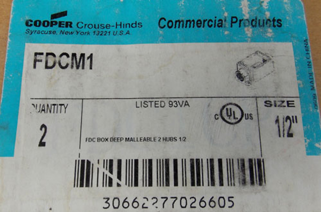 """2Pc Cooper Crouse Hinds FDCM1 FDC Box Deep Malleable 2 Hubs 1/2"""" New"""