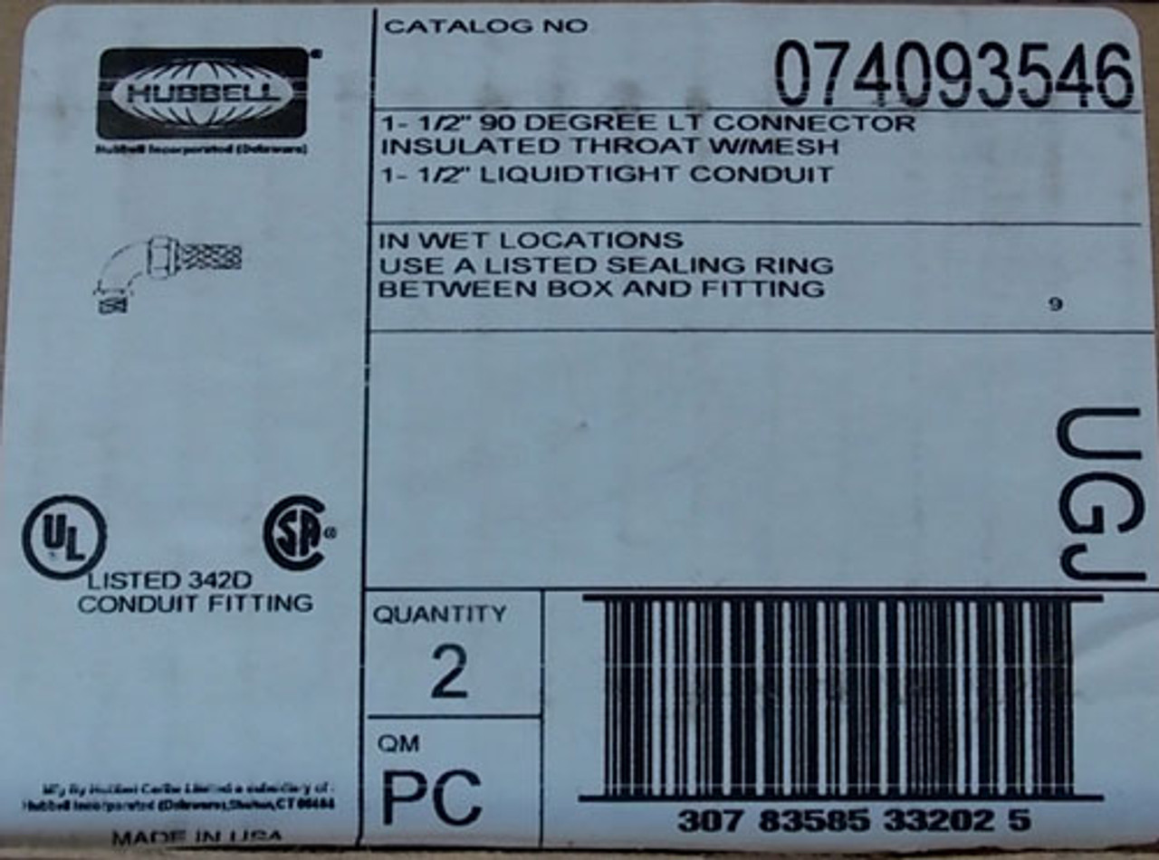 """2Pc Hubbell 074093546 1-1/2"""" 90 Degree LT Connector Ins Throat w/ Mesh New"""