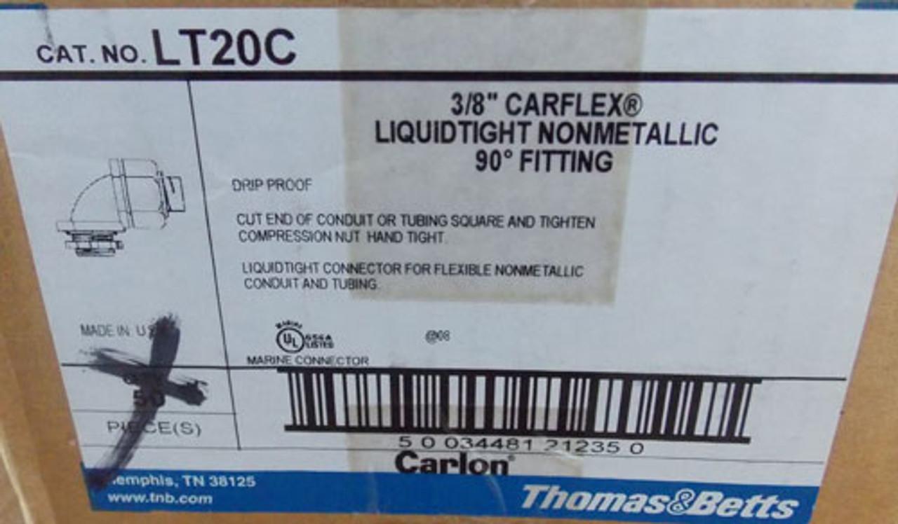 """2Pc T&B LT20C 3/8"""" 90 Degree Liquidtight Flexible Non-Metallic Fitting New"""