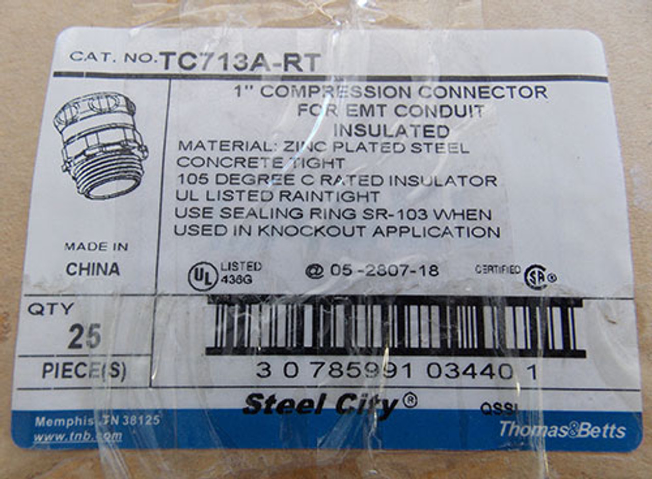 """2Pc T&B TC713-ART 1"""" Steel-Zinc Insulated Compression Connector New"""