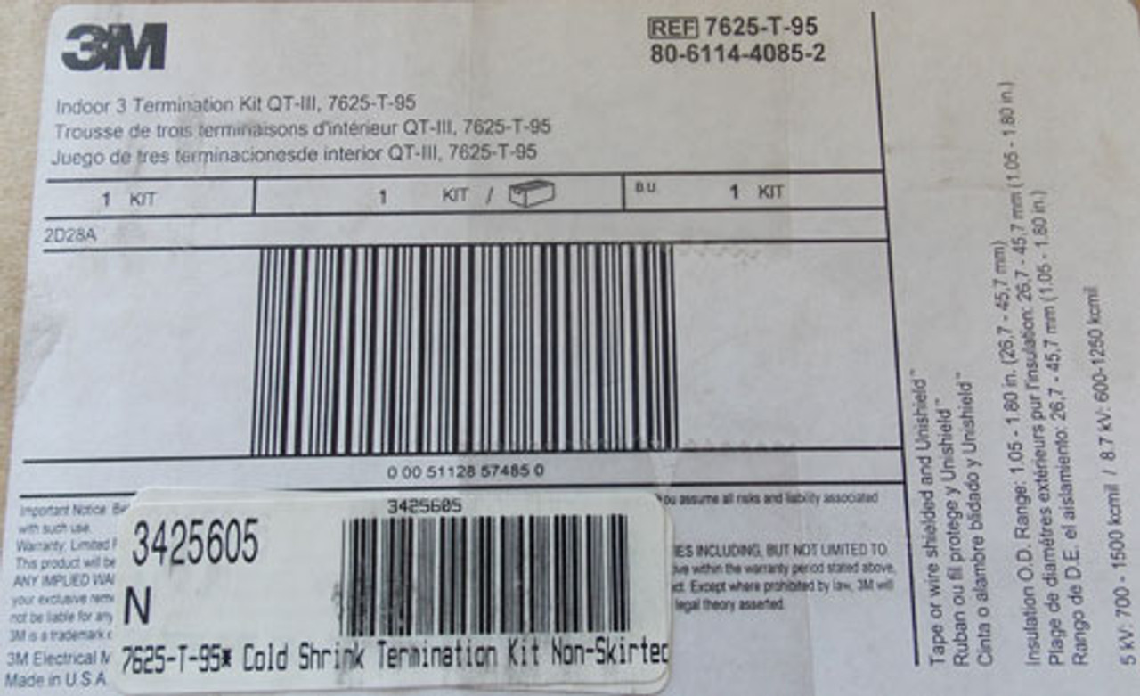 3M 7625-T-95 Cold Shrink QT-III Silicone Rubber Termination Kit, 3 Terms per kit - New