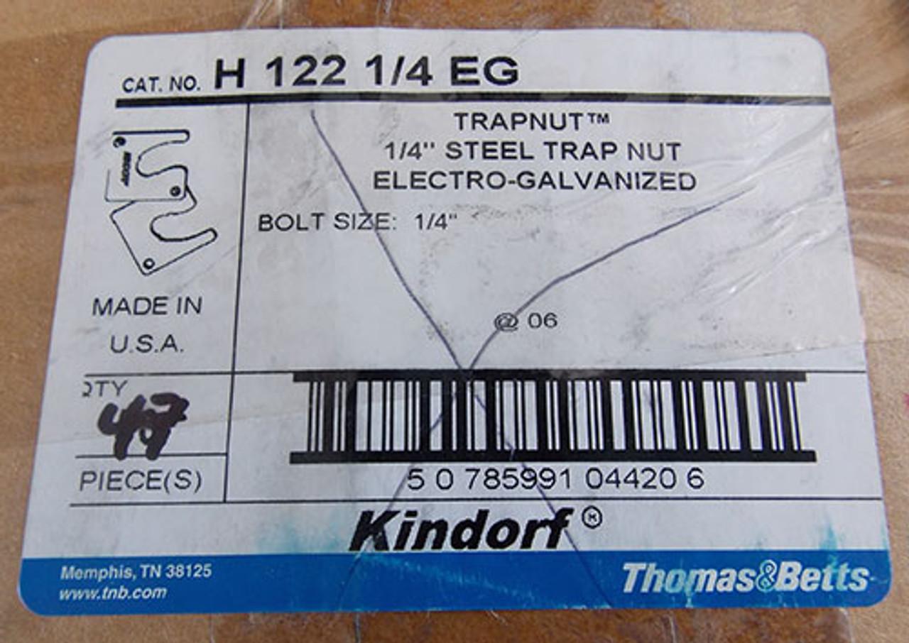 """T&B H 122 1/4"""" EG Steel Trapnut Strut Fastener (4Pc) - New"""