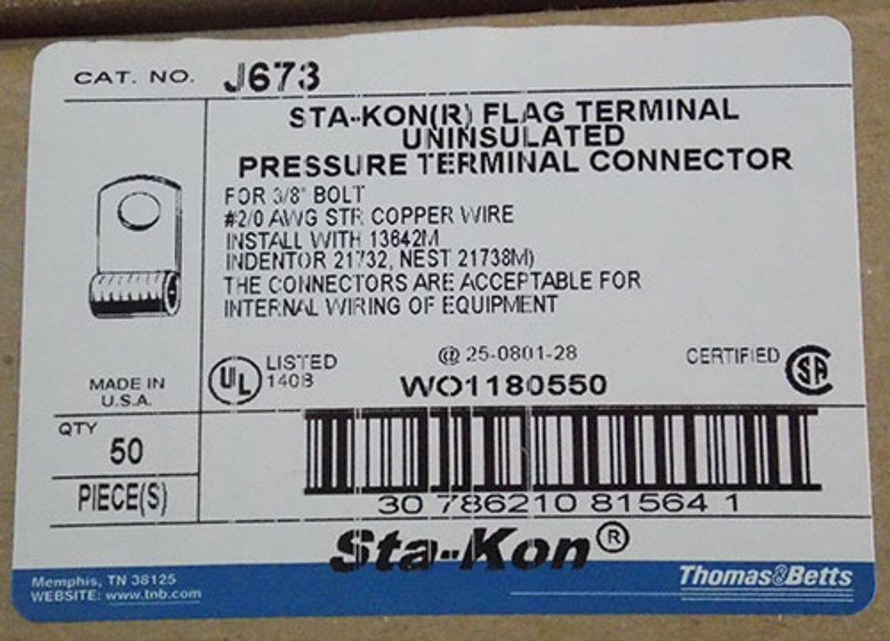 Thomas & Betts J673 Sta-Kon Flag Pressure Terminal Connector (50Pc) - New