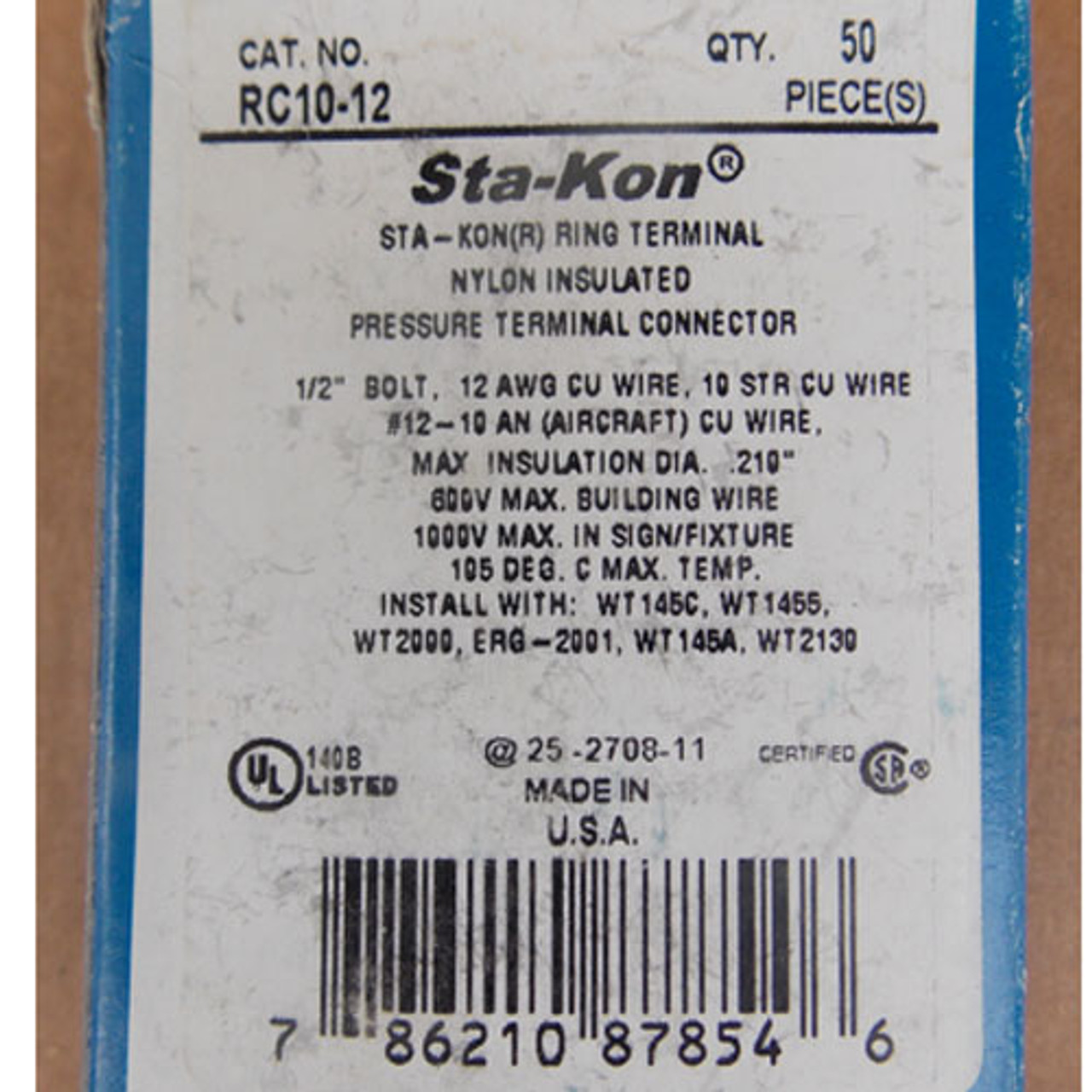 "Thomas & Betts Sta-Kon RC10-12 Insulated Terminal Connector 1/2"" Bolt (50Pc) - New"