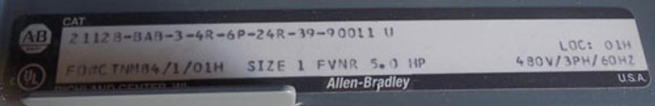 Allen-Bradley 2100 Series Size 1 MCC Bucket 3 Phase 480V 5HP - Used