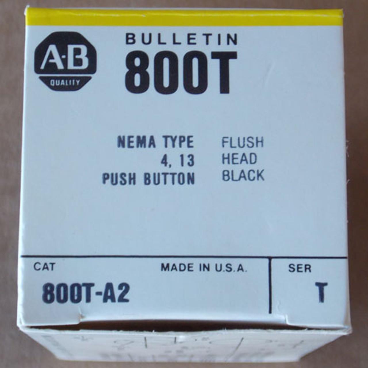 Allen-Bradley 800T-AT Flush Pushbutton Head Black, Nema 4,13 - New