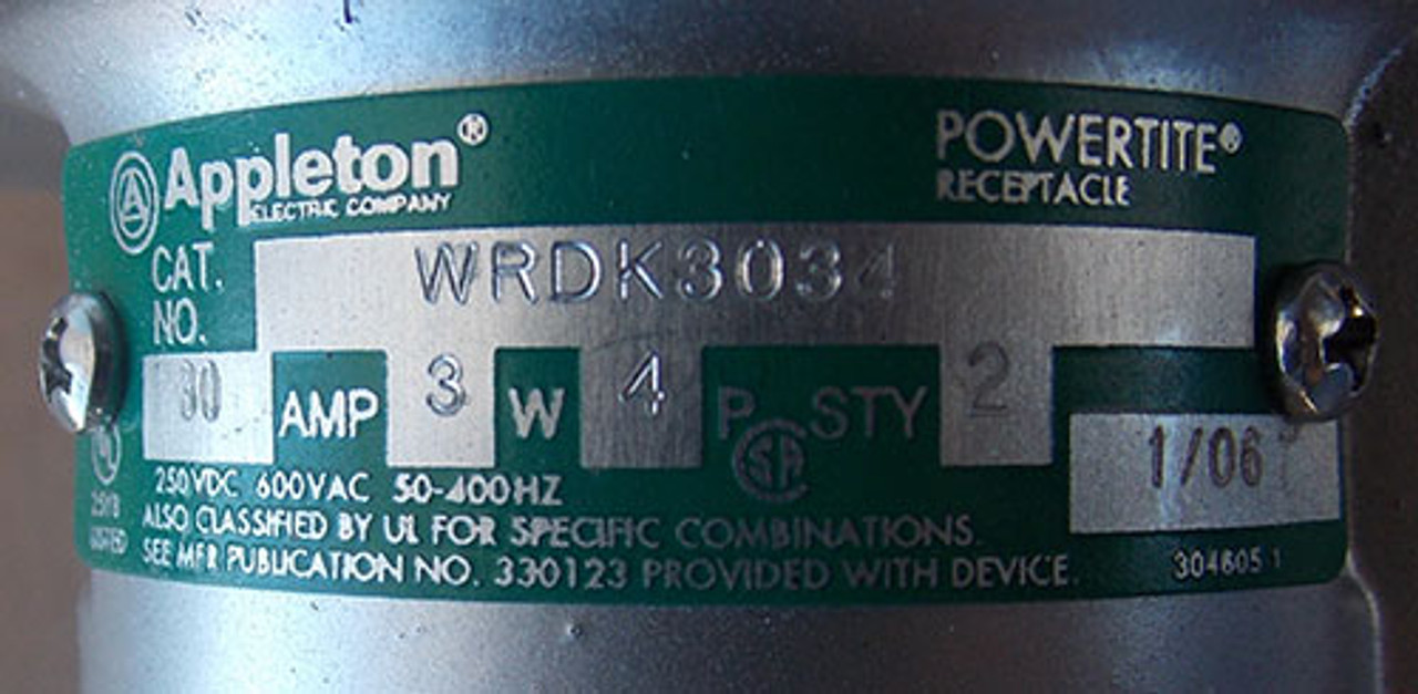 Appleton WSR3352 30A 600V 3Ph Interlocked Receptacle with Enclosed Switch - New