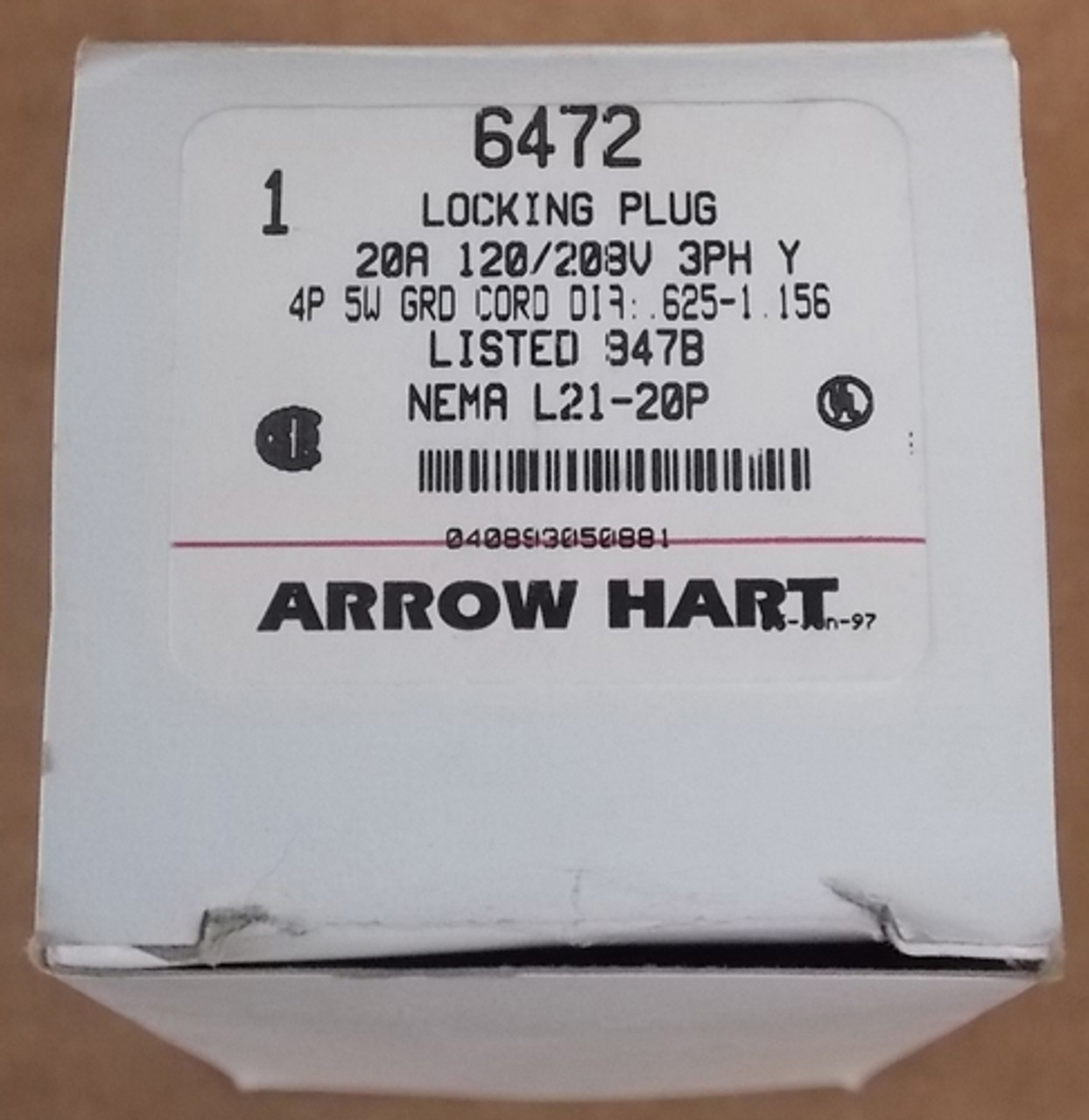Arrow Hart 6472 20 Amp 120/208 Volts 4 Pole 3 Phase 5 Wire Locking Plug - New