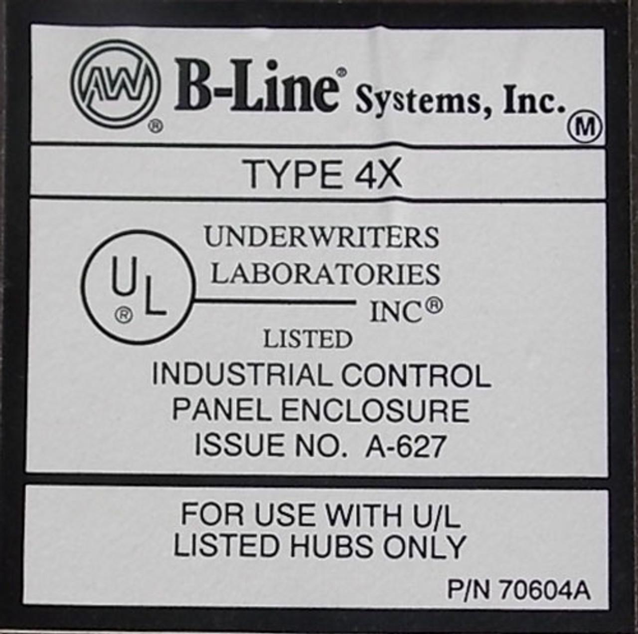 "B-Line LR78446 20""x16""x8"" SS Industrial Control Panel Enclosure N4X - New"