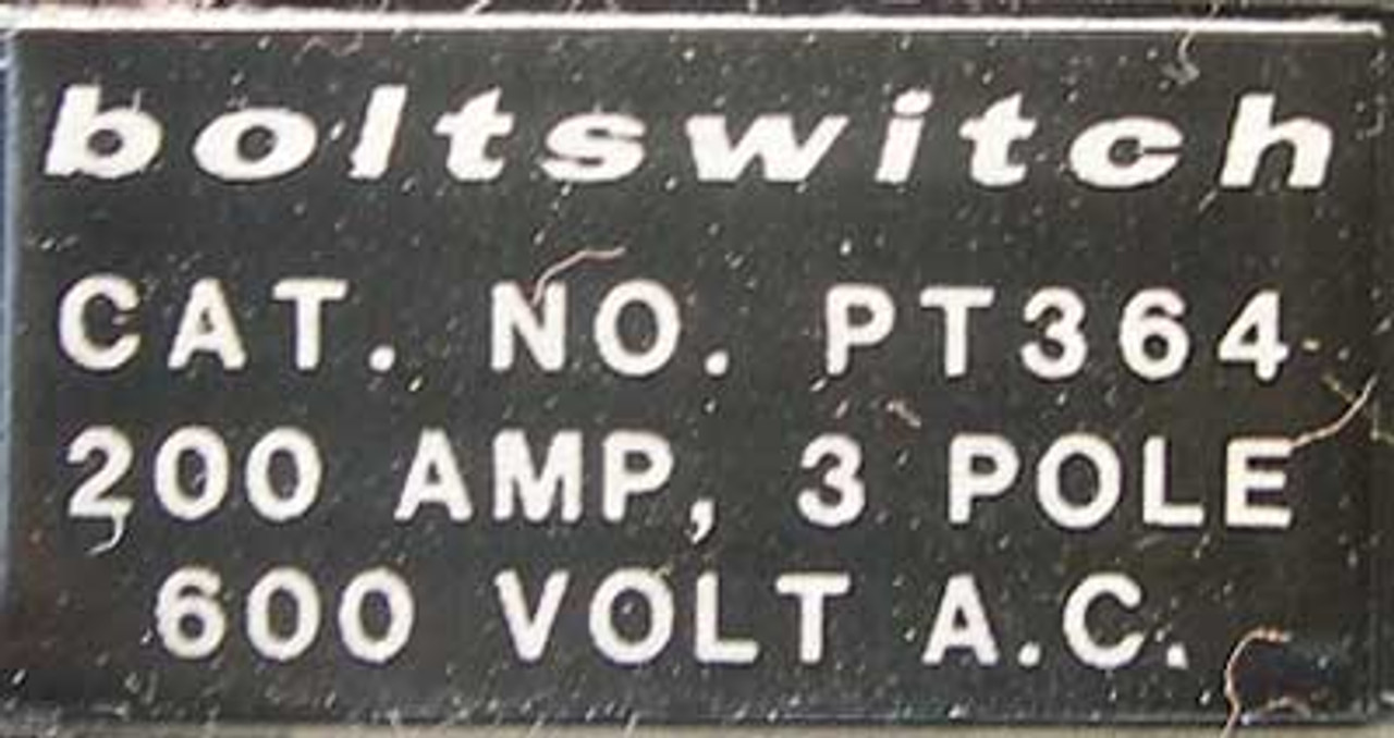 Boltswitch PT364 3 Pole 200 Amp 600V Pullout Switch - Used