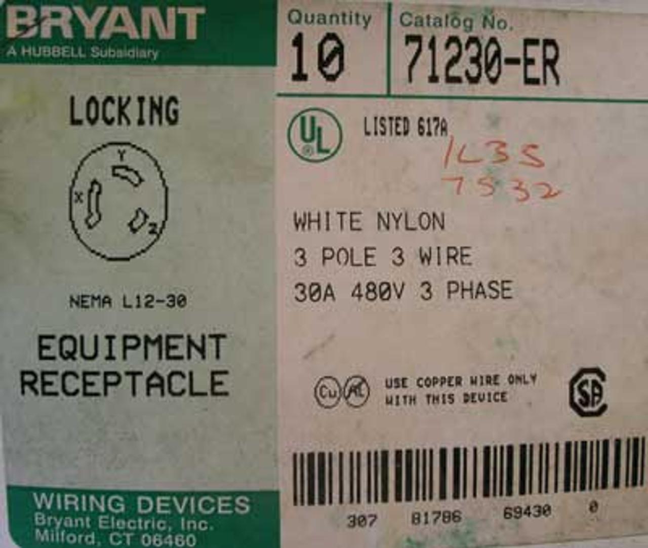 Bryant 71230-ER Locking Nema L12-30 Equipment Receptacle - New