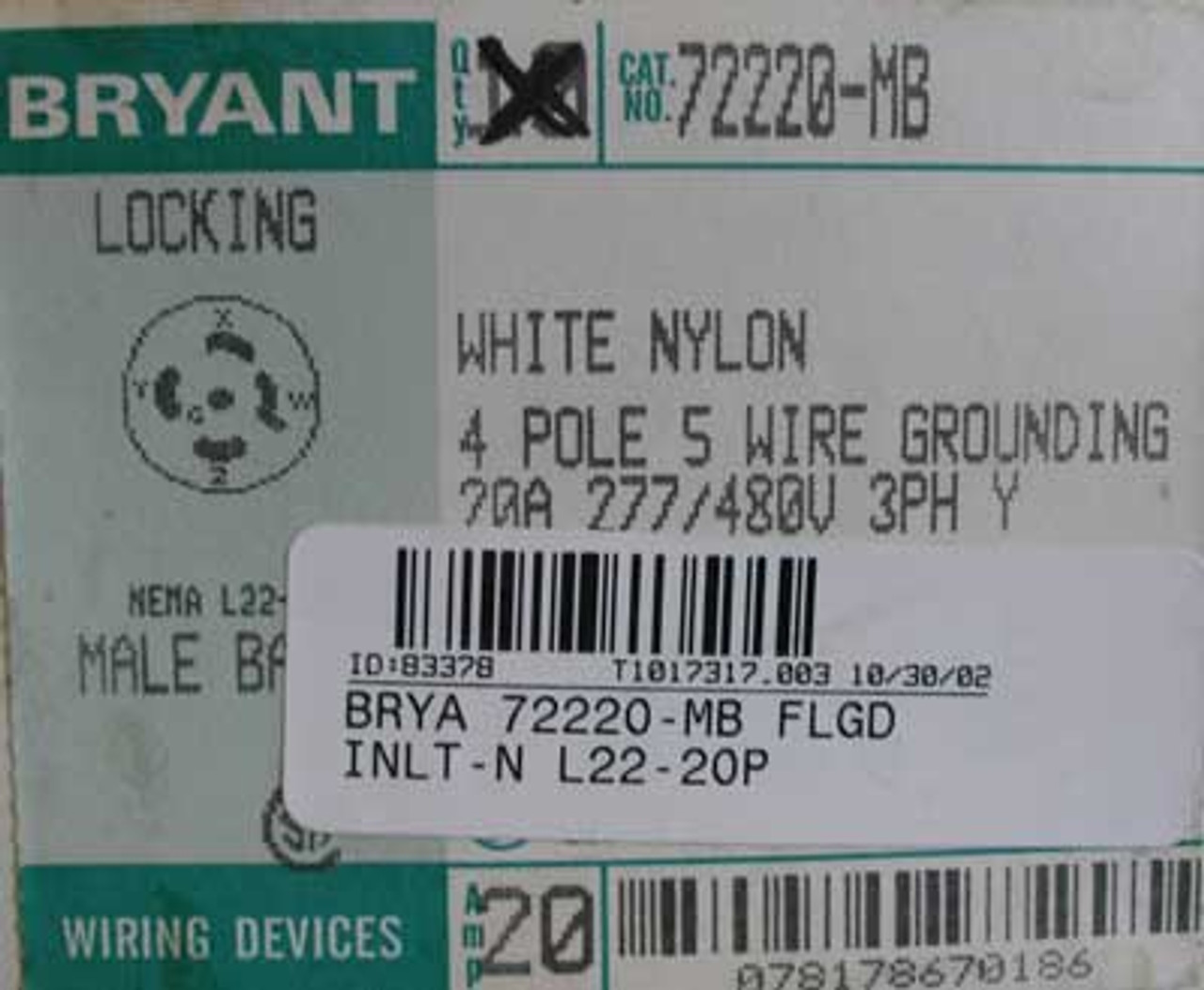 Bryant 72220-MB 4 Pole 5 Wire 20 Amp 277/480V Flanged Inlet - New
